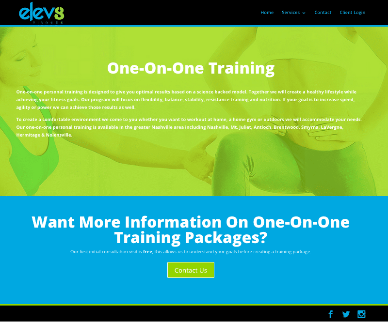 one on one training page