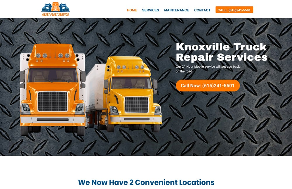 Asset Fleet Service Truck Repair Website