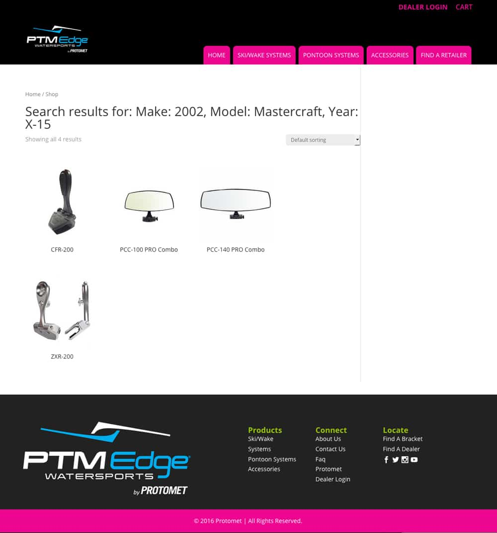 bracket finder results PTM Edge website