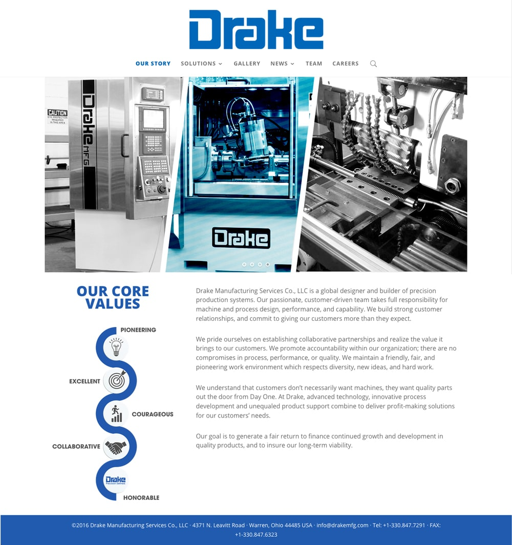 Drake Manufacturing Website - Warren Ohio