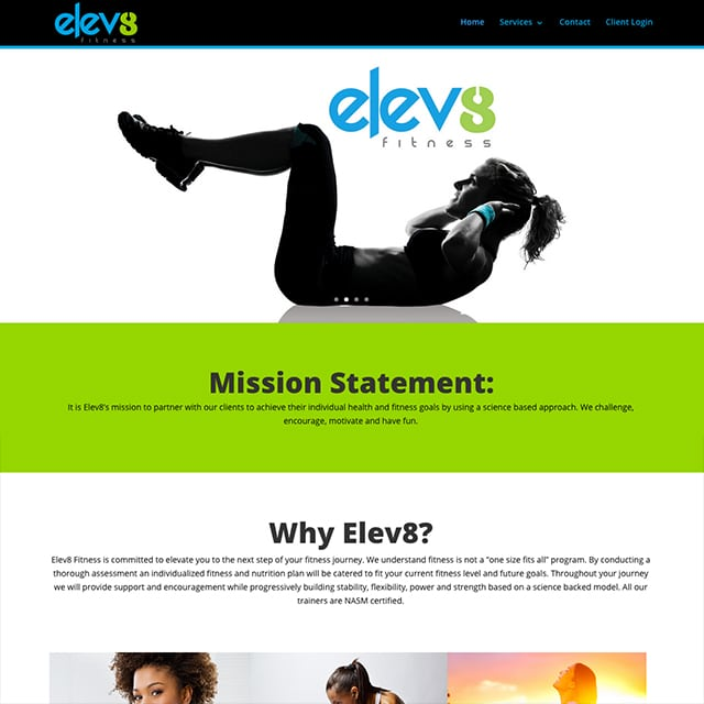 Elev8 Fitness Website Design