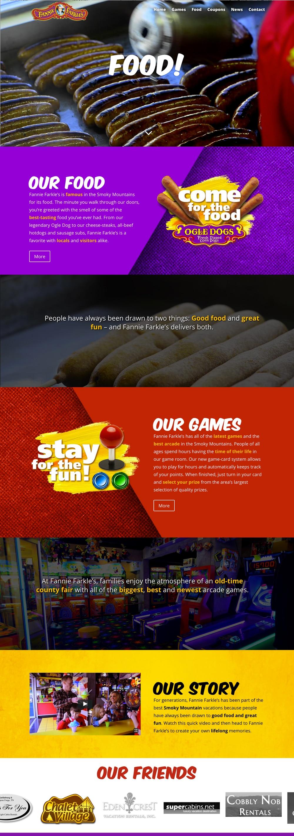 Fannie Farkels Website Design in Gatlinburg, Tennessee