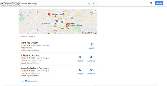 Google Snack Pack Maps Ranking Example