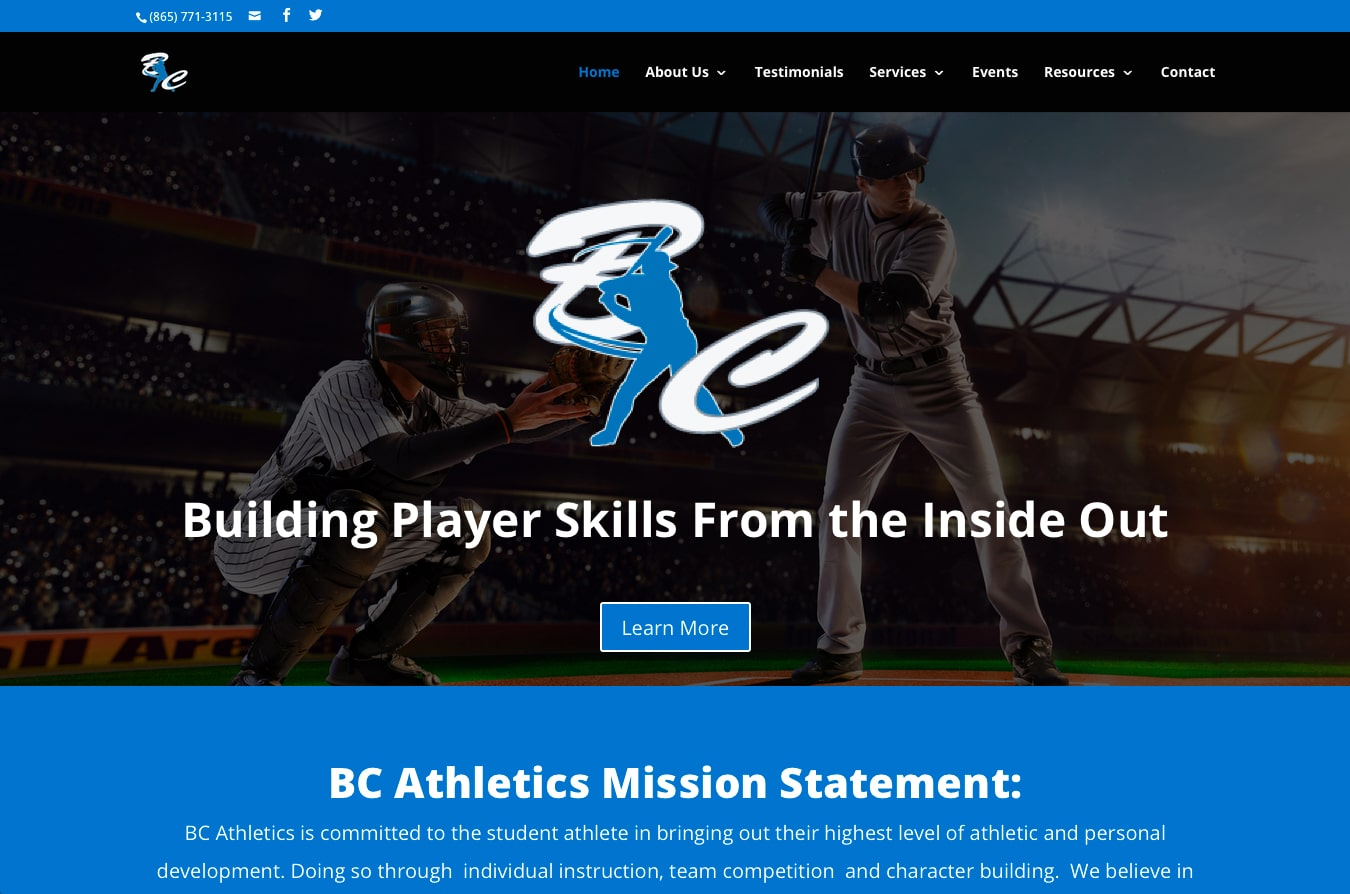 BC Athletics: Website Design in Knoxville, TN