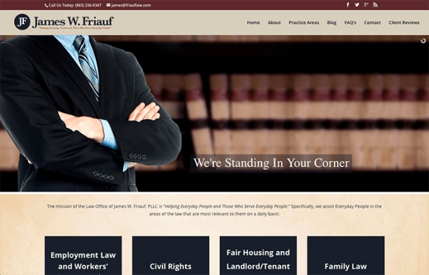 James Friauf Law office Website