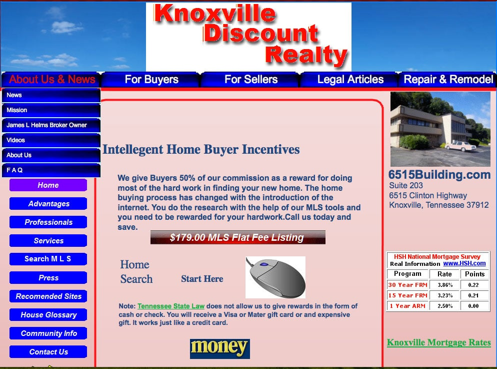 Old Real Estate Website: Before