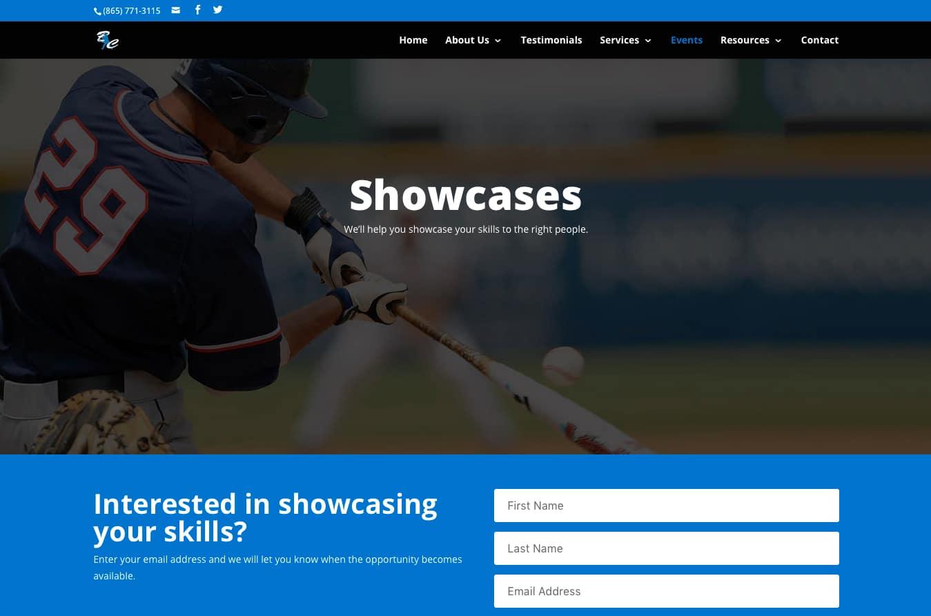 BC Athletics: Showcases page