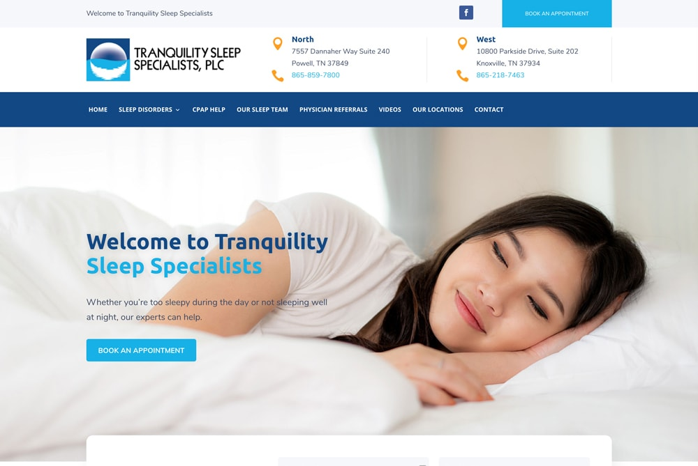 Tranquility Sleep Specialists Website Design