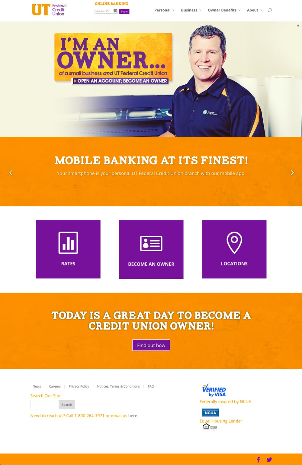 UT Federal Credit Union, Knoxville TN Website Design
